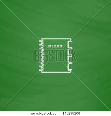 copybook Outline vector icon. Imitation draw with white chalk on green chalkboard. Flat Pictogram and School board background. Illustration symbol