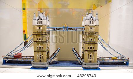 Copenhagen, Denmark - August 19, 2016: Model of the Lodon Bridge in the showroom of the Lego store