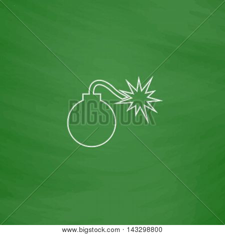 Bomb Outline vector icon. Imitation draw with white chalk on green chalkboard. Flat Pictogram and School board background. Illustration symbol