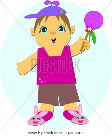 Boy with Rabbit Shoes and Sucker