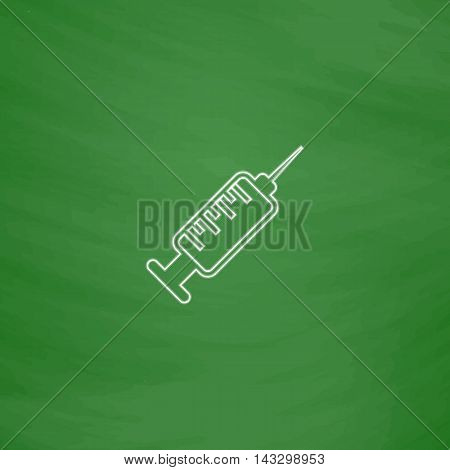 hypodermic Outline vector icon. Imitation draw with white chalk on green chalkboard. Flat Pictogram and School board background. Illustration symbol