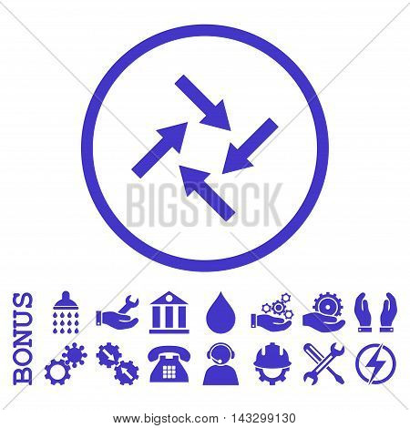 Centripetal Arrows glyph icon. Image style is a flat pictogram symbol inside a circle, violet color, white background. Bonus images are included.