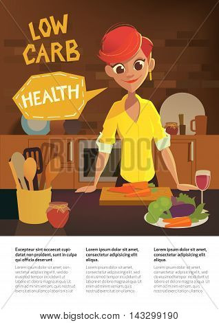 Healthy food, cartoon woman cooking in the modern kitchen. Fruits and Vegies. Low Carb Diet Brochure. Vector flat illustration.