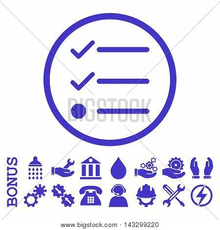 Checklist glyph icon. Image style is a flat pictogram symbol inside a circle, violet color, white background. Bonus images are included.