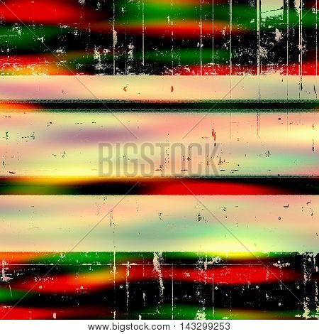 Retro design on grunge background or aged faded texture. With different color patterns: yellow (beige); black; green; red (orange); pink