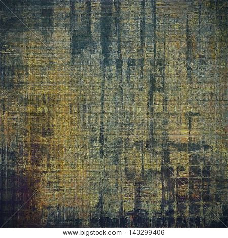 Vintage torn texture or stylish grunge background with ancient design elements and different color patterns: yellow (beige); brown; black; blue; gray