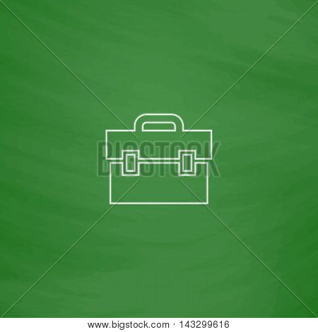 Briefcase Outline vector icon. Imitation draw with white chalk on green chalkboard. Flat Pictogram and School board background. Illustration symbol