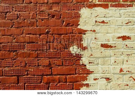 Brickwork, brick, pattern of old brick surfaced, rough brick wall, brickwall, brick house, orange bricks, orange brickwork, painted brick wall, brick wall, old plastered and painted brick wall