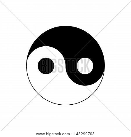 Ying yang icon in simple style on a white background