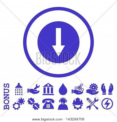 Down Rounded Arrow glyph icon. Image style is a flat pictogram symbol inside a circle, violet color, white background. Bonus images are included.
