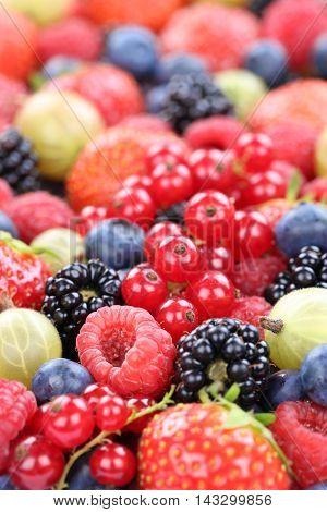 Berry Fruits Fresh Berries Collection Strawberries, Blueberries Raspberries Copyspace