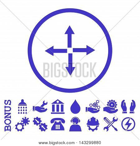 Expand Arrows glyph icon. Image style is a flat pictogram symbol inside a circle, violet color, white background. Bonus images are included.