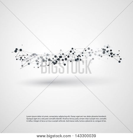 Abstract Cloud Computing and Global Network Connections Concept Design with Transparent Geometric Mesh, Wireframe Wave - Illustration in Editable Vector Format