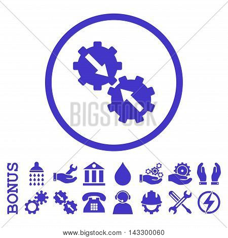 Gear Integration glyph icon. Image style is a flat pictogram symbol inside a circle, violet color, white background. Bonus images are included.