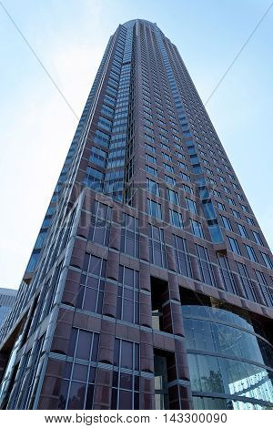FRANKFURT AM MAIN GERMANY - AUGUST 7 2015: The Trade Fair Tower Messeturm - a 63-storey 257 m skyscraper. It is the second tallest building in Frankfurt.