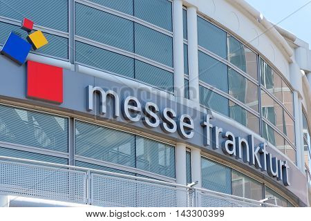FRANKFURT AM MAIN GERMANY - AUGUST 7 2015: Main entrance to Messe Frankfurt Trade Fair. Messe Frankfurt GmbH is one of the world's largest trade fair companies.
