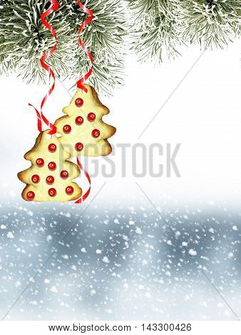Snow covered trees. Christmas toy on a branch of spruce