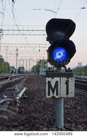 Blue Semaphore Signal On Railway