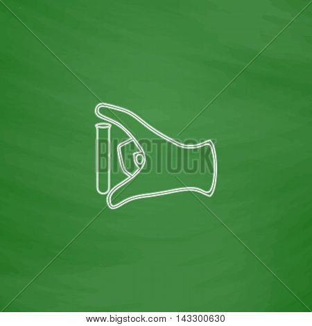 experiment Outline vector icon. Imitation draw with white chalk on green chalkboard. Flat Pictogram and School board background. Illustration symbol