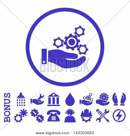 Mechanics Service glyph icon. Image style is a flat pictogram symbol inside a circle, violet color, white background. Bonus images are included.