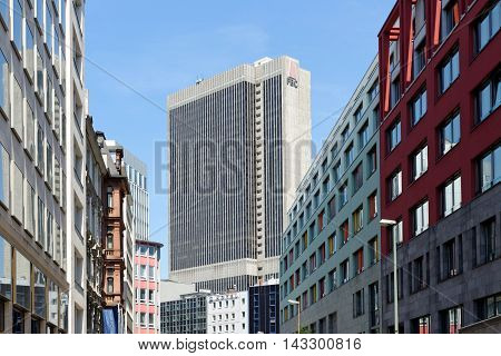 FRANKFURT AM MAIN GERMANY - AUGUST 7 2015: Frankfurter Buro Center (Frankfurt Office Center) also known as FBC is a 40-storey 142 m skyscraper in the Westend of the city.