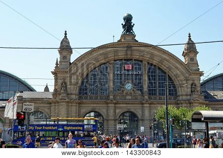 FRANKFURT AM MAIN GERMANY- AUGUST 7 2015: Facade of Deutsche Bahn railway central station (Hauptbahnhof). Deutsche Bahn describes itself as the second-largest transport company in the world