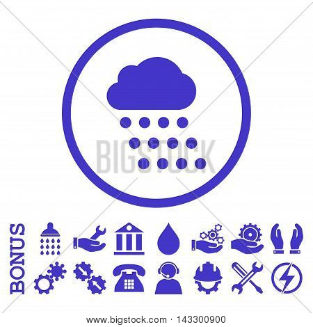 Rain Cloud glyph icon. Image style is a flat pictogram symbol inside a circle, violet color, white background. Bonus images are included.
