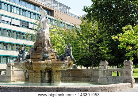 Art nouveau Fairy Tale fountain in Frankfurt am Main Germany.