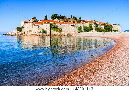 Sveti Stefan Montenegro. View with fantastic small island and resort on the Adriatic Sea coast Budva city region.