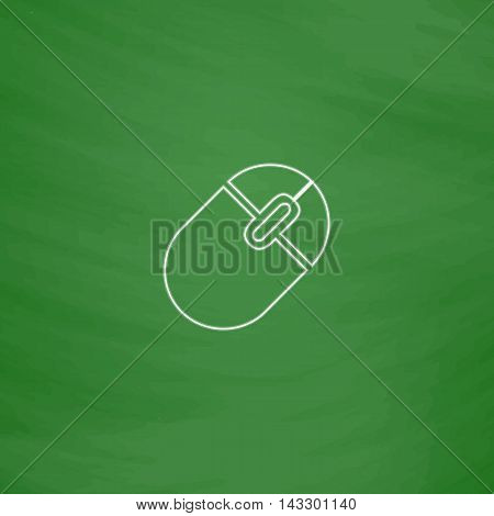 PC mouse Outline vector icon. Imitation draw with white chalk on green chalkboard. Flat Pictogram and School board background. Illustration symbol
