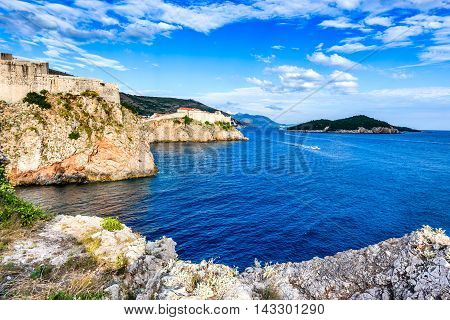 Dubrovnik Croatia. Spectacular picturesque view on the old town of Ragusa and Lovrijenac Fortress.