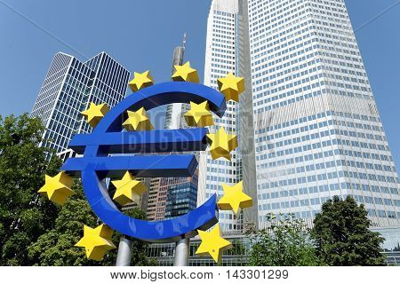 FRANKFURT AM MAIN GERMANY - AUGUST 7 2015: Euro Sign. European Central Bank (ECB) is the central bank for the euro and administers the monetary policy of the Eurozone.