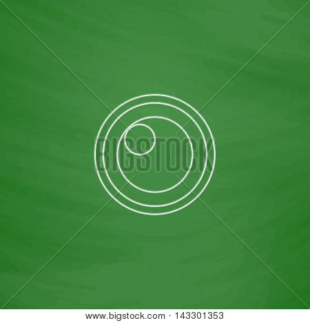 pupil Outline vector icon. Imitation draw with white chalk on green chalkboard. Flat Pictogram and School board background. Illustration symbol