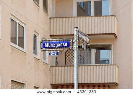 Munzgasse street sign post in the Old Town of Frankfurt am Main Germany.