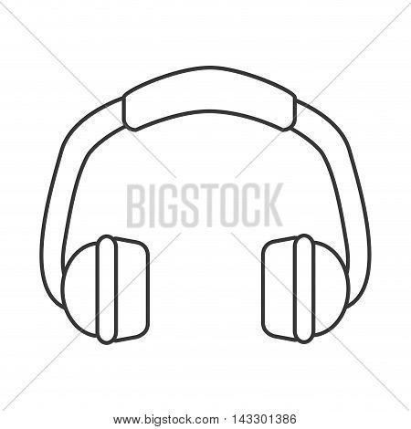 flat design single headphones icon vector illustration
