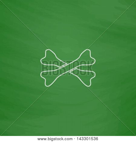 crossed bones Outline vector icon. Imitation draw with white chalk on green chalkboard. Flat Pictogram and School board background. Illustration symbol