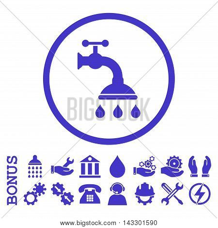 Shower Tap glyph icon. Image style is a flat pictogram symbol inside a circle, violet color, white background. Bonus images are included.