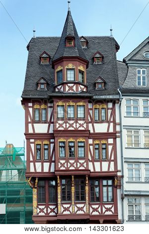 At the Angel an old half-timbered house on Romerberg square in Frankfurt am Main Germany.