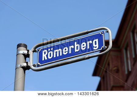 Romerberg square sign post in the Old Town the historic heart of Frankfurt am Main Germany.