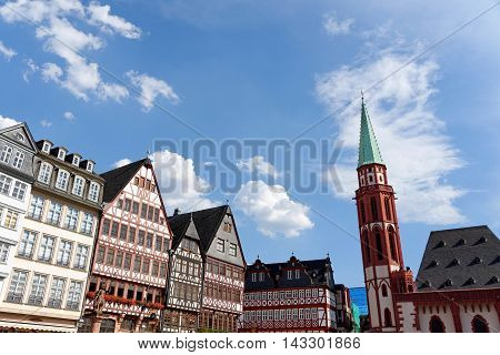 Romerberg square (Roman Mountain) the historic heart of Frankfurt am Main Germany and the centre of the old town.