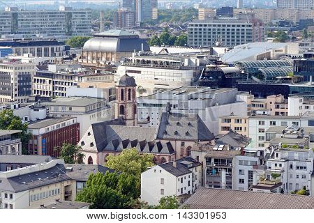 FRANKFURT AM MAIN GERMANY - AUGUST 7 2015: Aerial view from the Frankfurt Cathedral. The Borse rooftop Galeria mall Liebfrauenkirche church are seen.