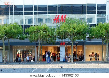 FRANKFURT AM MAIN GERMANY - AUGUST 7 2015: HM store on the famoust Zeil shopping street. H&M is a Swedish multinational retail-clothing company.