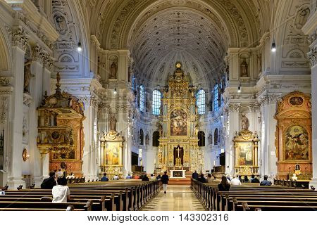 MUNICH GERMANY - AUGUST 2 2015: Interior of St. Michael's Church on Neuhauser Strasse. It is the largest Renaissance church north of the Alps.