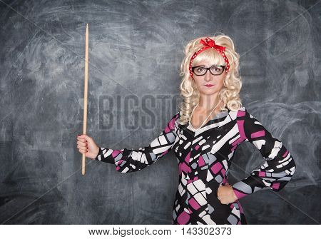 Retro Teacher With Wooden Pointer