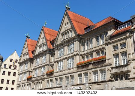MUNICH GERMANY - AUGUST 2 2015: The luxurious department store Oberpollinger on Neuhauser street opened 1905.
