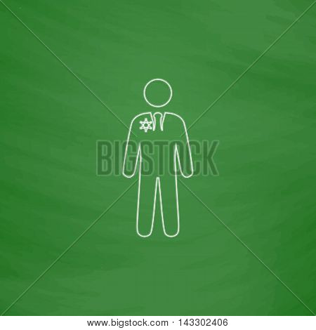ranger Outline vector icon. Imitation draw with white chalk on green chalkboard. Flat Pictogram and School board background. Illustration symbol