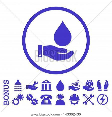 Water Service glyph icon. Image style is a flat pictogram symbol inside a circle, violet color, white background. Bonus images are included.
