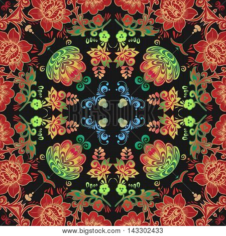 beautiful embossed floral pattern Mandala in the style of traditional folk art decorative painting