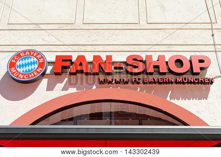 MUNICH GERMANY - august 2 2015: Display of fan shop FC Bayern football club in Munich Germany. Bayern Munich football club is the best in Germany championship.