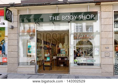MUNICH GERMANY - AUGUST 3 2015: The Body shop store. Body Shop is part of famous L'Oreal group and has 2800 stores worldwide (2014).